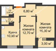 2 комнатная квартира 53,3 м² в ЖК Подкова на Цветочной, дом № 8 - планировка