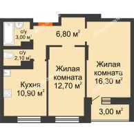 2 комнатная квартира 54,8 м² в ЖК Подкова на Цветочной, дом № 8 - планировка