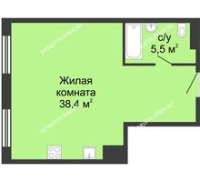 Студия 45,95 м² в ЖК Сердце Нижнего, дом № 35 - планировка