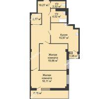 2 комнатная квартира 82,8 м² в  ЖК РИИЖТский Уют, дом Секция 1-2 - планировка