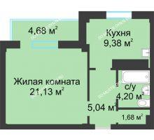 1 комнатная квартира 43,77 м² в ЖК На Победной, дом № 8 - планировка