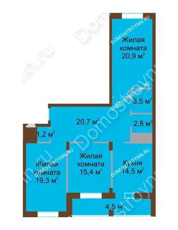 3 комнатная квартира 102,8 м² в ЖК Монолит, дом № 89, корп. 1, 2