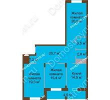 3 комнатная квартира 102,8 м² в ЖК Монолит, дом № 89, корп. 1, 2 - планировка