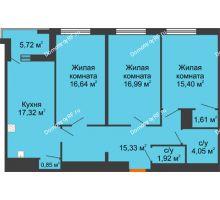 3 комнатная квартира 92,97 м² в ЖК Россия. Пять Столиц, дом 3 Этап - планировка