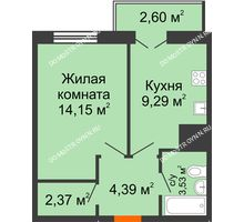 1 комнатная квартира 36,33 м² - ЖК Комарово
