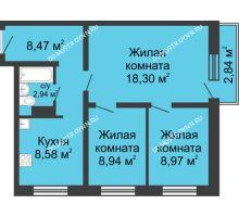 3 комнатная квартира 57,05 м² в ЖК Мончегория, дом № 3 - планировка
