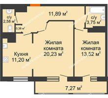 2 комнатная квартира 70,82 м² в ЖК Покровский, дом № 1