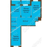 3 комнатная квартира 103,7 м² в ЖК Монолит, дом № 89, корп. 1, 2 - планировка