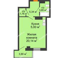 Студия 37,26 м² в ЖК Сокол на Оганова, дом Литер 6 - планировка
