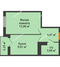 1 комнатная квартира 33,56 м² в ЖК Семейный парк, дом Литер 2 - планировка