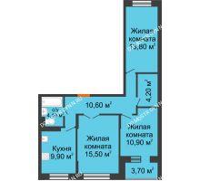 3 комнатная квартира 70,9 м² в ЖК Жюль Верн, дом № 1 корпус 1 - планировка