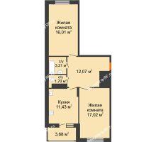 2 комнатная квартира 65,12 м² в ЖК Фрунзе, 85, дом № 3 - планировка