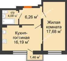 2 комнатная квартира 45,7 м², ЖК Онегин - планировка