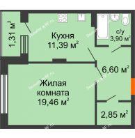 1 комнатная квартира 45,93 м² в ЖК Суворов-Сити, дом 1 очередь секция 6-13 - планировка