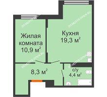 1 комнатная квартира 42,9 м² в ЖК Новая Кузнечиха, дом № 28 - планировка