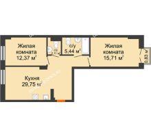 2 комнатная квартира 65,63 м², ЖК Шаляпин - планировка