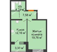 1 комнатная квартира 45,95 м², ЖК Вавиловский Дворик - планировка