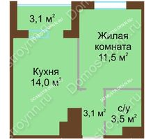 1 комнатная квартира 33,65 м² в ЖК НОВИНКИ Smart City, дом № 20