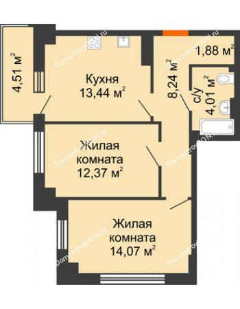 2 комнатная квартира 55,36 м² в ЖК Аврора, дом № 3