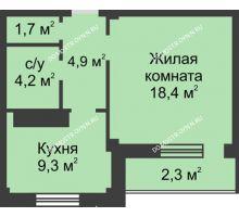 1 комнатная квартира 40,7 м² в ЖК На Победной, дом № 3 - планировка
