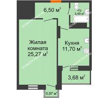 1 комнатная квартира 49,09 м², ЖК Командор - планировка