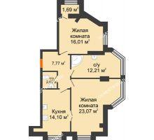 2 комнатная квартира 76,64 м² в ЖК Дом на Провиантской, дом № 12 - планировка